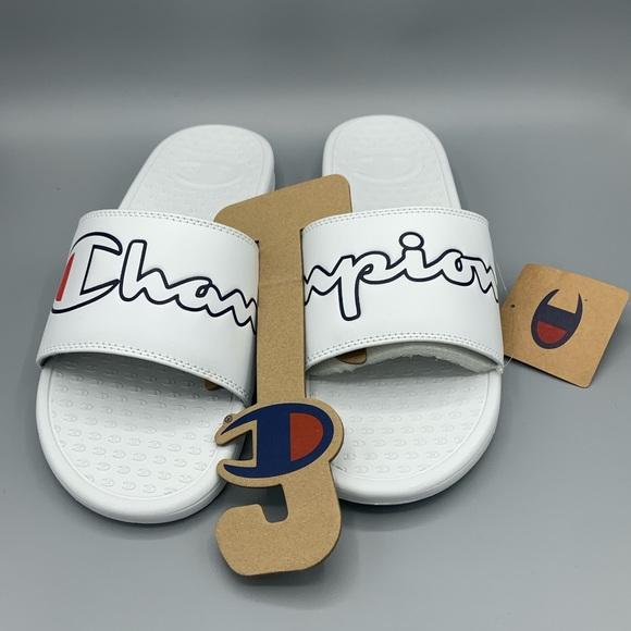 Champion IPO Repeat Slide Sandals White Mens Size 11 Logo And Script Brand New
